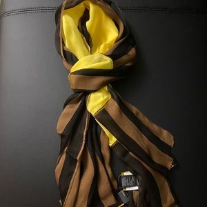 Fendi Pequin Stripes Panel Silk Chiffon Scarf